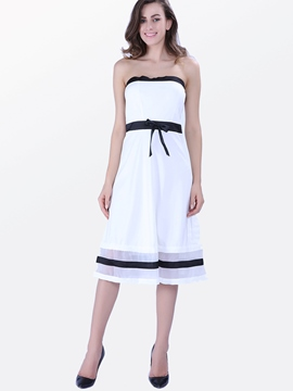 Ericdress Strapless White Casual Dress