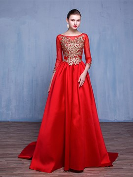 Ericdress 3/4 Length Sleeves A-Line Scoop Appliques Pearls Evening Dress