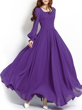 Ericdress Solid Color Sqaure Neck Lantern Sleeve Maxi Dress
