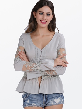 Ericdress Slim See-Through Solid Color Lace Blouse