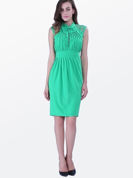 Ericdress Patchwork Cap Sleeve Pleated Casual Dress