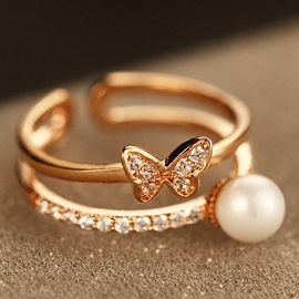 Ericdress Butterfly Pearl Beading Ring