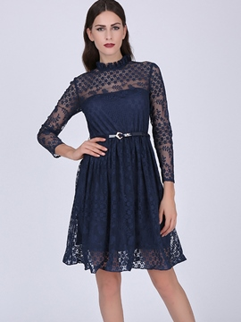 Ericdress Solid Color Long Sleeve Patchwork Casual Dress