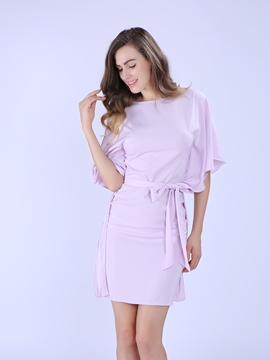 Ericdress Batwing Sleeve Patchwork Falbala Bodycon Dress