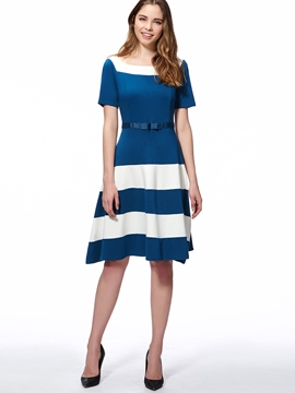 Ericdress Color Block Stripe Short Sleeve Casual Dress