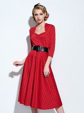 Ericdress Vintage Polka Dots Expansion A Line Dress