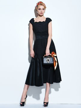 Ericdress Solid Color Pleated Patchwork Square Neck A Line Dress