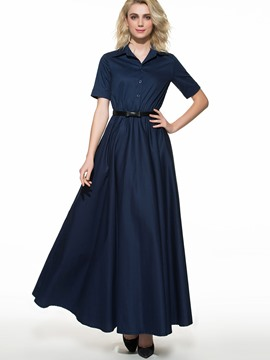 Ericdress Solid Color Belt Maxi Dress