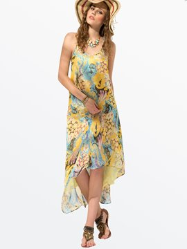 Clocolor? Ericdress Floral Print Spaghetti Strap Dress