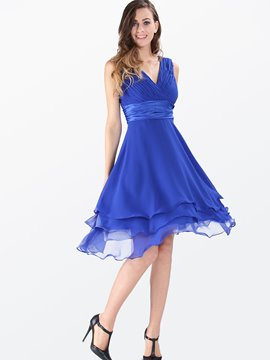 Ericdress Soild Color Asymmetric A Line Dress