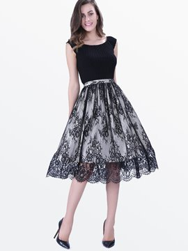 Ericdress Fabric Pactchwork Skater Lace Dress