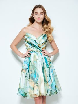 Ericdress A-Line Sweetheart Print Homecoming Dress In Knee-Length