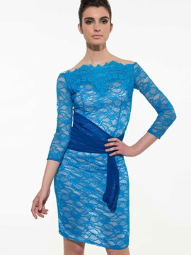Ericdress Lace Hollow Patchwork Sheath Dress