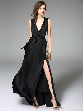 Ericdress Euopean Summer Sleeveless Split V-Neck Little Black Dress