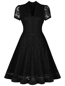 Ericdress Solid Color Single-Breasted Short Sleeve Lace Dress