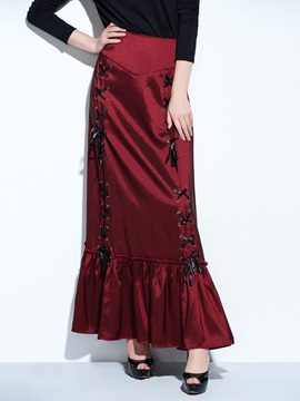 Ericdress Solid Color Patchwork Vintage Maxi Rock