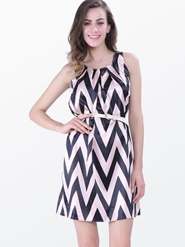 Ericdress Color Block Geometric Stripe Casual Dress