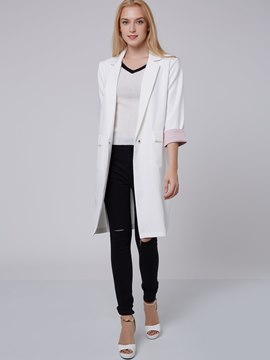 Ericdress Color Block Loose Trench Coat
