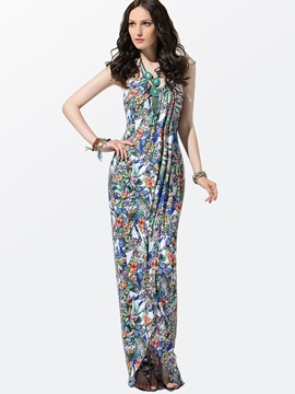 Ericdress Blue Printed Maxi Dress