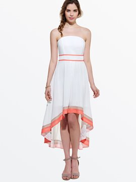 Ericdress Strapless Pleated Patchwork Maxi Dress