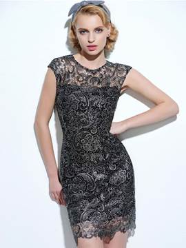 Ericdress Summer Solid Color Cap Sleeve Bodycon Lace Dress