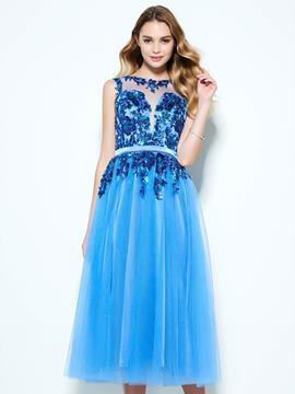 Ericdress A-Line Scoop Appliques Button Sequins Tea-Length Homecoming Dress
