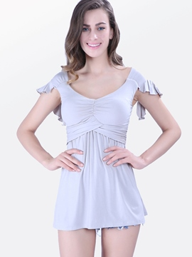 Ericdress Casual Slim T-Shirt plissé