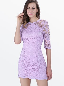 Ericdress Ladylike Solid Color Half Sleeve Lace Dress