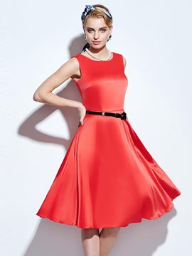 Ericdress Vintage Solid Color A Line Dress