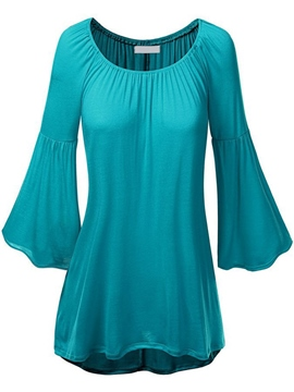 Ericdress Flare Sleeve Pleated Plain Bell Sleeve T-Shirt