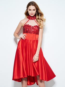 Ericdress High Neck A-Line Appliques Sequins Asymmetry Homecoming Dress