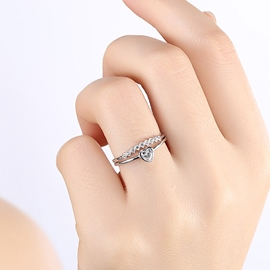 Ericdress Silver Heart Shaped Opening Ring