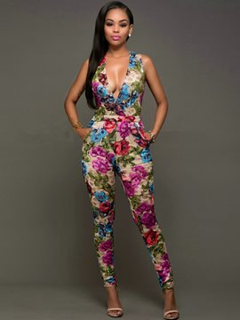 Ericdress Floral Print V-Neck Jumpsuits Pants