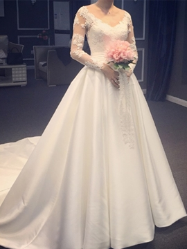 Ericdress V-Neck Appliques Long Sleeves Wedding Dress With Chapel Train