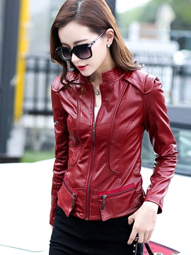 Ericdress Solid Color Slim Zipper Jacket