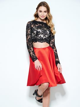 Ericdress A-Line Bateau Long Sleeves Lace Short Homecoming Dress