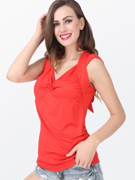 Ericdress Solid Color Slim Backless Lace-Up T-Shirt