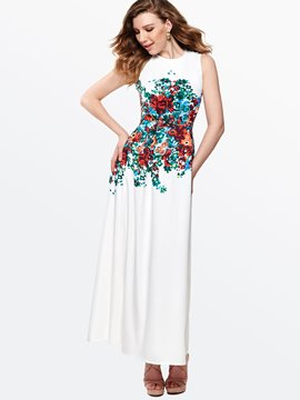 Ericdress Floral Print Sleeveless Round Neck Maxi Dress