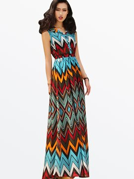 Ericdress Single-Breasted Sleeveless Wave Cut Maxi Dress