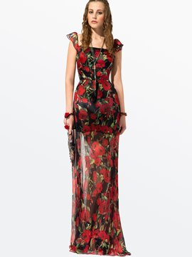Ericdress Chiffon Floral Sleeveless Maximum Style Dress