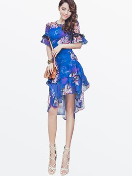 Ericdress Flower Print Asymmetric Patchwork Casual Dress