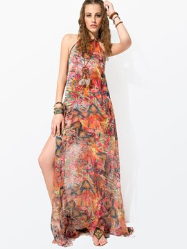 Ericdress Clocolor Red Printing Sleeveless Maxi Dress