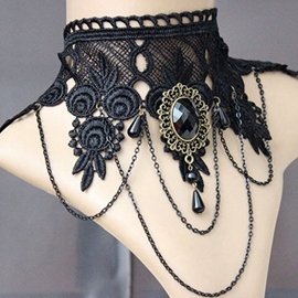 Ericdress Wide Black Lace Choker Necklace