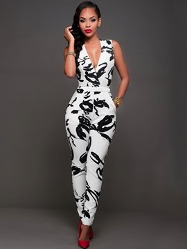 Ericdress Unique Print V-Neck Jumpsuits Pants