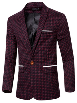 Ericdress Plaid One Button Slim Men's Blazer