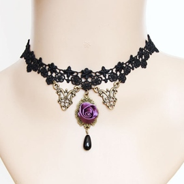 Ericdress Purple Rose Lace Necklace