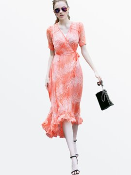 Ericdress V-Neck Lace-Up Asymmetric Short Sleeve Casual Dress