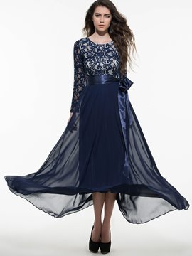 Ericdress dentelle Patchwork Bowknot Expansion Lace-Up robe Maxi