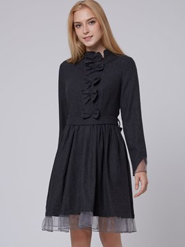 Ericdress Bowknot Patchwork Pleated Casual Dress