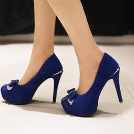 Ericdress Graceful Bowtie Suede Pumps